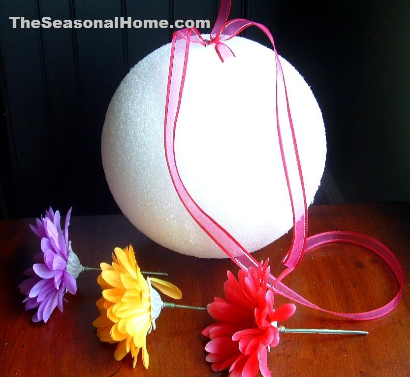 s_styrofoam ball and flowers_red