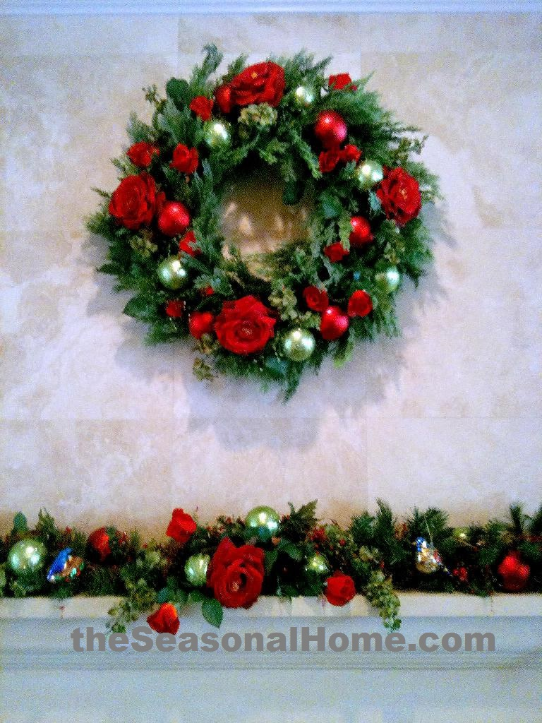 a_Rose Theme_Fireplace Mantel Wreath and Garland