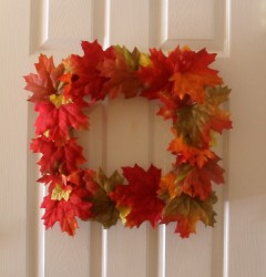 square fall wreath on door