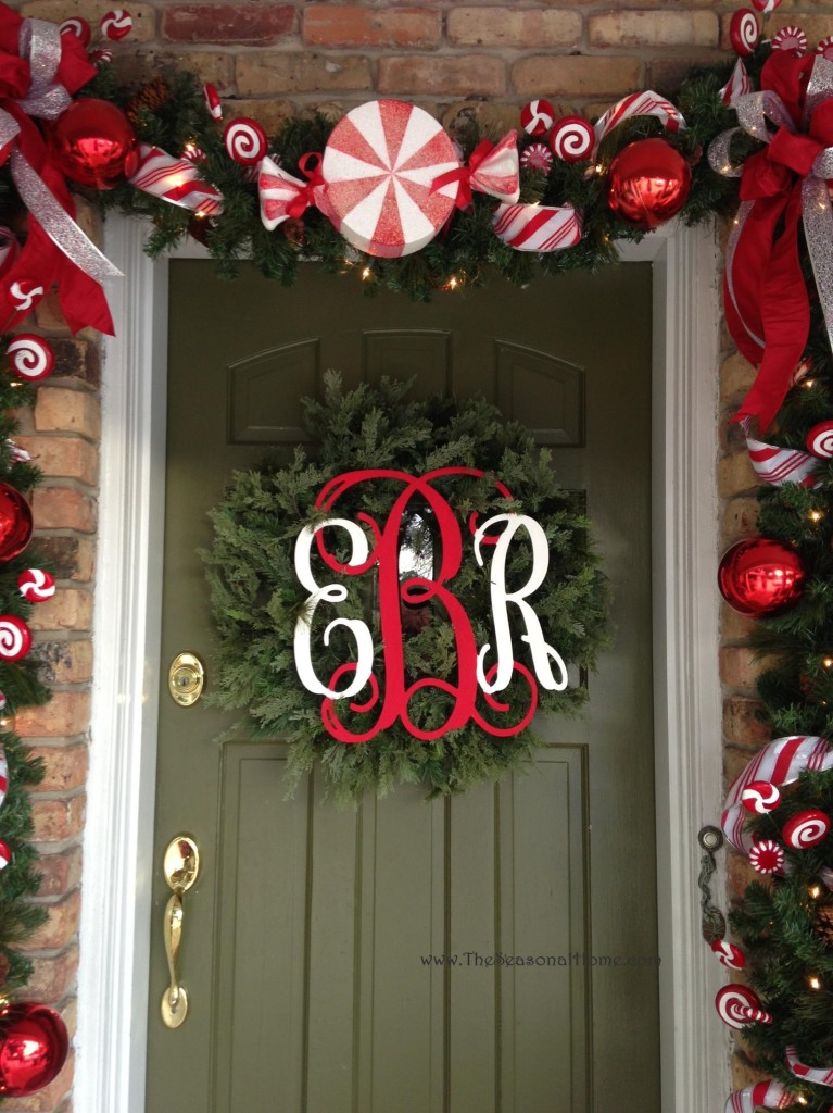 wreath on door with bow