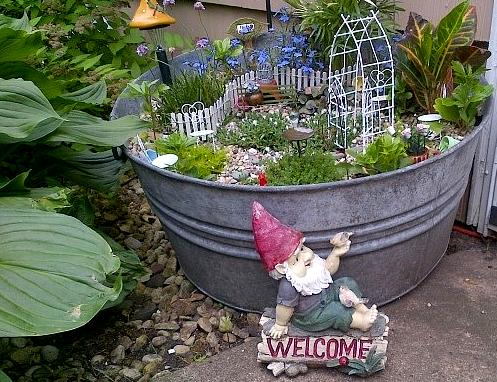 Pop up fairy garden also a great gift idea the for Large metal tub for gardening