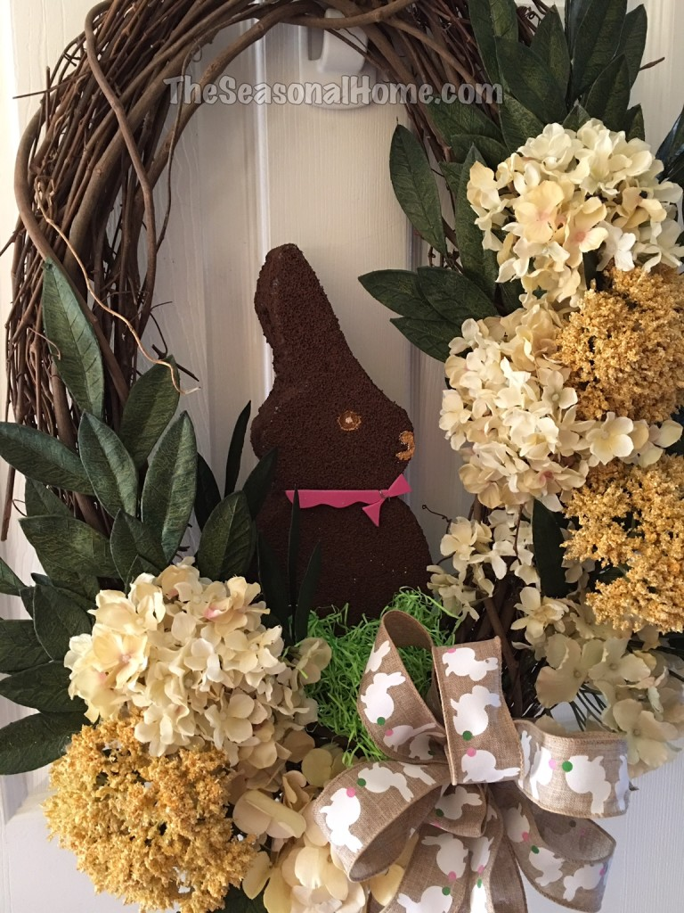 chocolate bunny in wreath